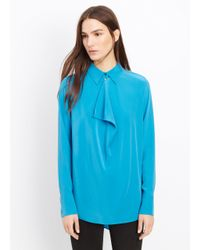 Vince - Blue Silk Cowl Neck Blouse - Lyst