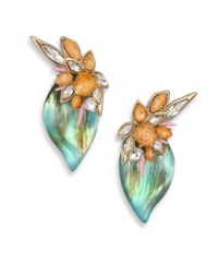 Alexis Bittar | Green Desert Jasmine Lucite, Jasper & Crystal Floral Punk Clip-On Earrings | Lyst