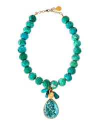 Devon Leigh | Green Turquoise Facetbeaded and Teardrop Necklace | Lyst