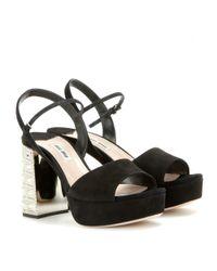 Miu Miu - Black Embellished Suede Platform Sandals - Lyst