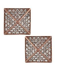 Vince Camuto - Pink Rose Goldtone And Crystal Pyramid Stud Earrings - Lyst