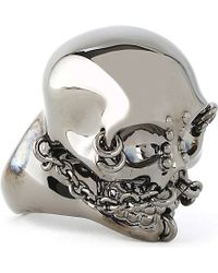 Alexander McQueen | Metallic Chain Skull Ring for Men | Lyst