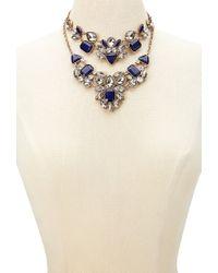 Forever 21 - Blue Rhinestone Statement Necklace Set - Lyst