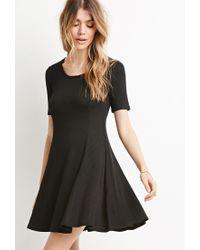 Forever 21 - Black Ribbed Skater Dress - Lyst