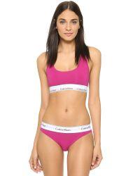 Calvin Klein - Modern Cotton Thong - Pink Desire - Lyst