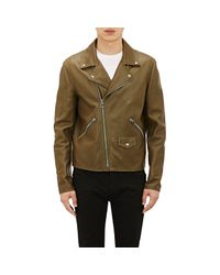 Loewe | Green Leather Moto Jacket for Men | Lyst