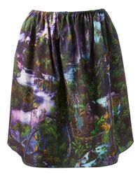 Carven | Green Printed Poplin Skirt | Lyst