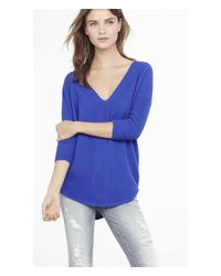 Express | Blue Engineered Rib London Tunic Sweater | Lyst