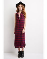 Forever 21 | Blue Longline Plaid Shirt Dress | Lyst