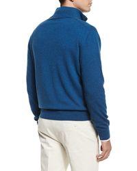 Loro Piana - Blue Mezzocollo Half-zip Cashmere Sweater for Men - Lyst