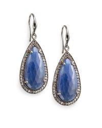 Bavna | 0.87 Tcw Diamond, Blue Sapphire & Sterling Silver Teardrop Earrings | Lyst