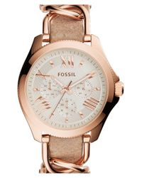 Fossil - Metallic 'cecile' Multifunction Link & Leather Strap Watch - Lyst