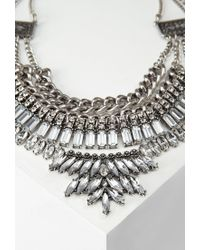 Forever 21 - Metallic Layered Chain Rhinestone Necklace - Lyst