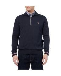 John Smedley | Blue Farmon Zip-Collar Sea Island Cotton Polo Shirt for Men | Lyst