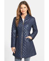 Via Spiga - Blue Stand Collar Quilted Coat - Lyst