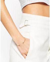 ASOS - Metallic Fine Open Cuff Shapes Bracelet - Lyst