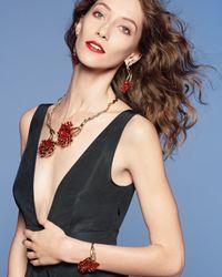 Oscar de la Renta - Red Swarovski® Enamel Carnation Drop Earrings - Lyst