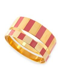Tuleste | Metallic Enamel Step Bangles In Pink/golden | Lyst