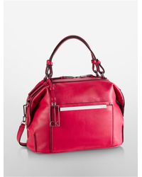 Calvin Klein | Red Kenner Leather Soft Dome Satchel | Lyst