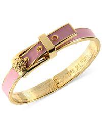 Anne Klein - Gold-Tone Pink Buckle Bangle Bracelet - Lyst