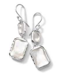 Ippolita - Metallic Sterling Silver Wonderland Rectangular Mini-drop Earrings In Mother-of-pearl Doublet - Lyst