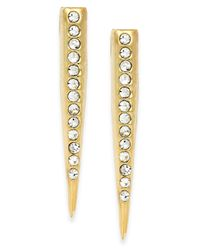 ABS By Allen Schwartz | Metallic Gold-tone Crystal Stick Earrings | Lyst