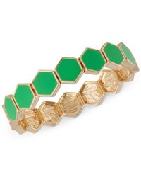 French Connection | Green Gold-tone Hexagon Tile Stretch Bracelet | Lyst
