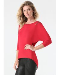 Bebe | Red Zip Dolman Top | Lyst