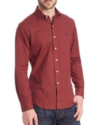Polo Ralph Lauren - Red Checked Twill Estate Sportshirt for Men - Lyst