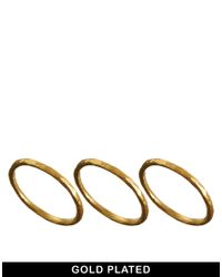 Dogeared | Metallic Gold Plated Set Of 3 Karma Rings | Lyst