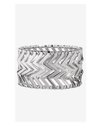 Express - Metallic Chevron Metal Stretch Bracelet - Lyst