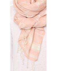 Tory Burch | Pink Logo Jacquard Striped Scarf | Lyst