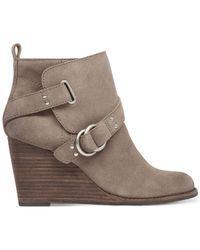 Lucky Brand | Gray Women's Yerik Buckle Wedge Booties | Lyst