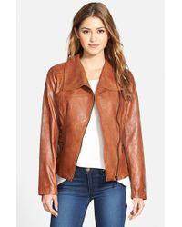 Bernardo | Brown Leather Moto Jacket | Lyst