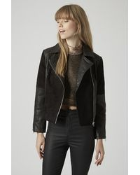 TOPSHOP - Black Leather And Suede Panel Biker Jacket - Lyst