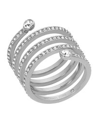 Michael Kors | Metallic Pave Spiral Ring | Lyst