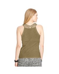 Ralph Lauren - Green Crocheted Cotton Tank - Lyst