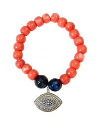 CB Bronfman | Orange Coral Diamond Bracelet | Lyst