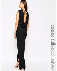 ASOS | Black Tall Sleeveless Cowl Back Maxi Dress | Lyst