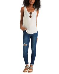 Oasis - Natural Scallop Pricepoint Vest - Lyst