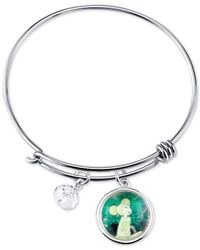 Disney - Metallic Tinkerbell Charm Bracelet In Stainless Steel With Silver-plated Charms - Lyst