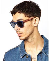 ASOS | Blue Wayfarer Sunglasses with Aztec Print Arms for Men | Lyst