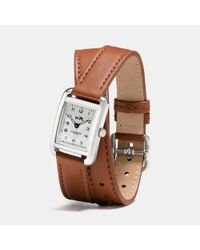 COACH - Brown Thompson Stainless Steel Double Wrap Watch - Lyst
