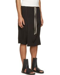 Rick Owens - Black Savage Draping Pod Shorts for Men - Lyst