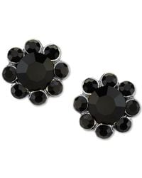 2028 | Metallic Silver-tone Black Stone Floral Stud Earrings | Lyst