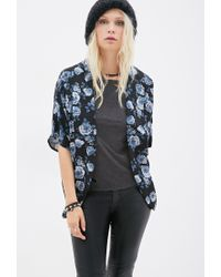 Forever 21 | Blue Rose Print Cardigan | Lyst