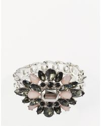Little Mistress | Metallic Stone Flower Bracelet | Lyst