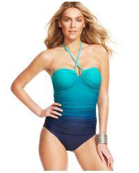 Lauren by Ralph Lauren - Green Ombre Island Halter Swimsuit - Lyst
