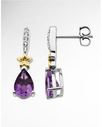 Lord & Taylor | Purple Amethyst Drop Earrings In Sterling Silver With 14 Kt. Yellow Gold | Lyst