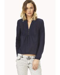 Forever 21 | Blue Sweet Side Peasant Top | Lyst